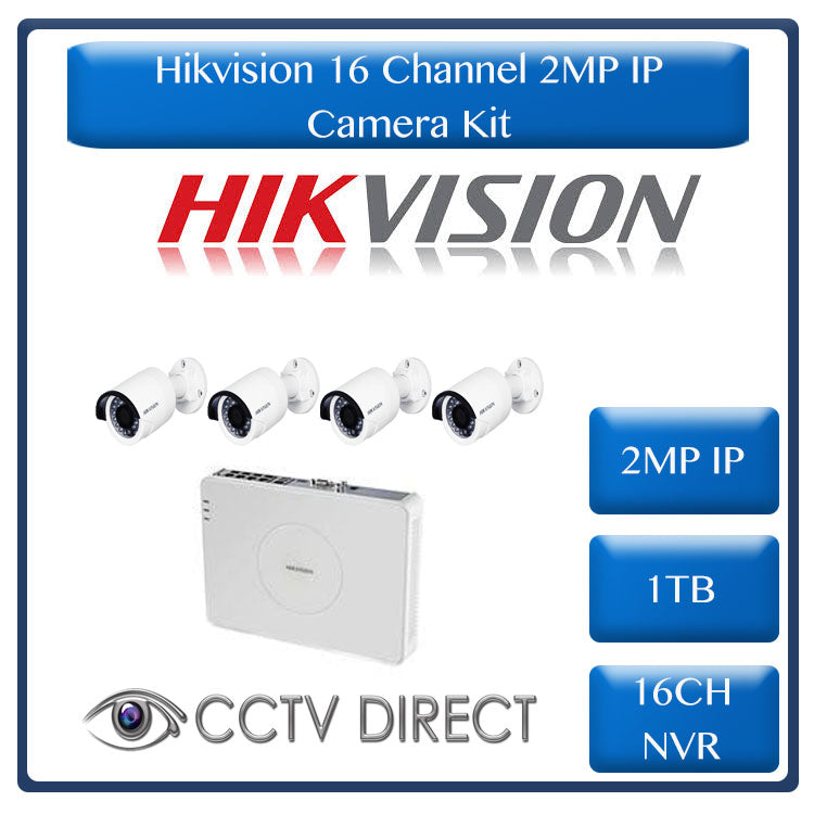 Hikvision 2MP IP camera kit - 16ch NVR - 4 x 2MP IP cameras - 1TB HDD - 100m Cat5 cable