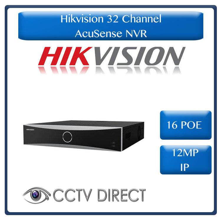 Hikvision AcuSense NVR, 32ch, 16 POE, 4 SATA up to 12MP, 4K Resolution