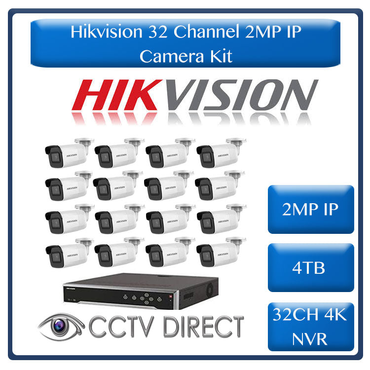 Hikvision 2MP IP camera kit, 32ch 4K NVR with 16 POE, 16 x Hikvision 2MP IP bullet cameras 30m IR, 4TB HDD, 300m cable