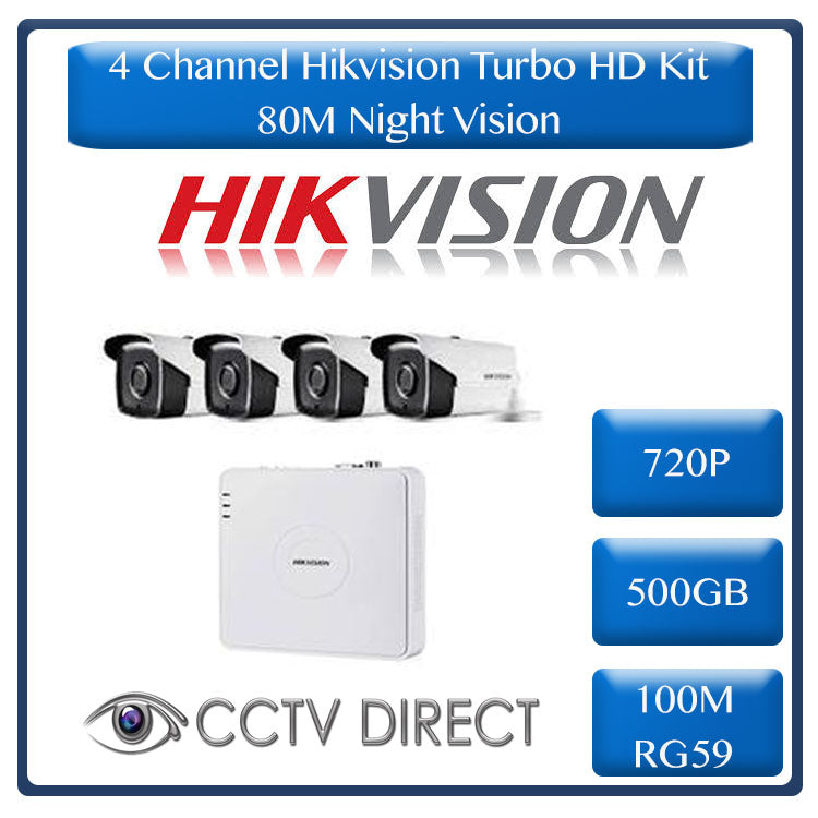 HikVision 4 Ch Turbo HD Kit - Embedded DVR - 4 x HD720P Camera - 80M Night vision - 500GB HD - 100m Cable