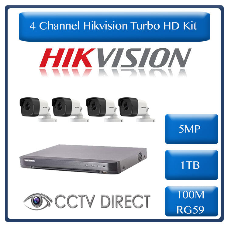 Hikvision 4ch 5MP Turbo HD kit - HD DVR up to 8MP - 4 x HD 5MP cameras - 1TB HDD - 100m Cable - 20m Night vision