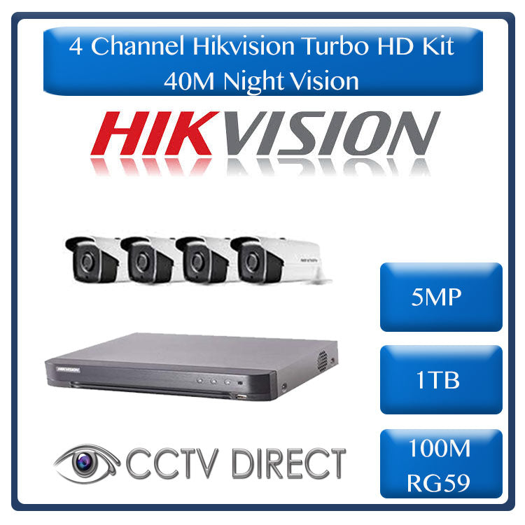 Hikvision 4ch 5MP Turbo HD kit - HD DVR up to 8MP - 4 x HD 5MP cameras - 1TB HDD - 100m Cable - 40m Night vision