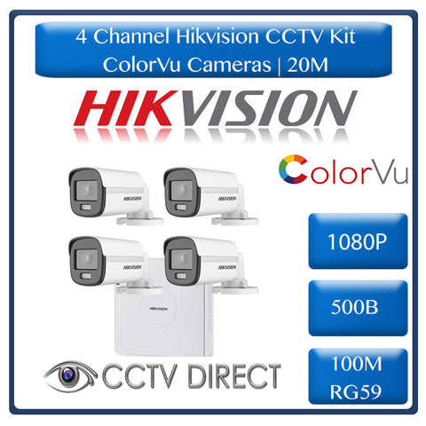 Hikvision 4ch Turbo HD Kit - HD DVR _ 4 x 1080p ColorVu cameras - 20m Full colour night vision - 500GB HDD - 100m Cable