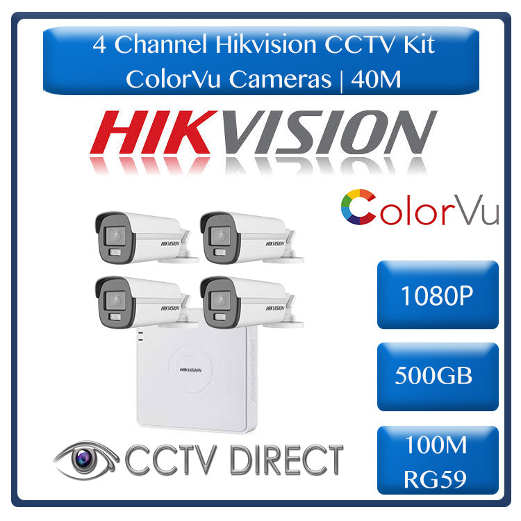Hikvision 4ch Turbo HD Kit - HD DVR _ 4 x 1080p ColorVu cameras - 40m Full colour night vision - 500GB HDD - 100m Cable