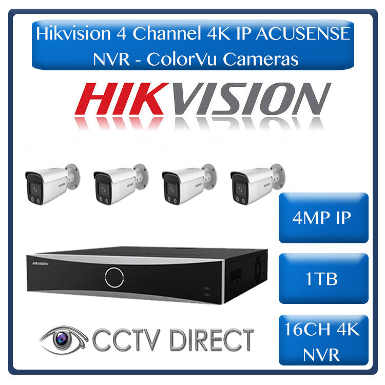 Hikvision ACUSENSE 4MP IP camera kit - 16ch 4K NVR - 4 x 4MP ColorVu IP cameras - 1TB HDD - 100M cable - Colour Night vision