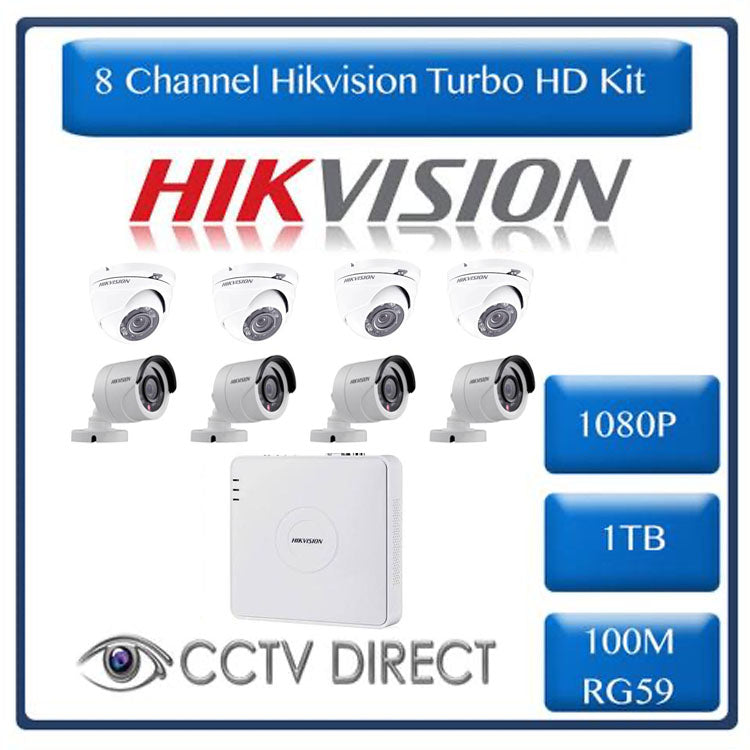 HikVision 8 Ch Turbo HD Kit - Embedded DVR - 4 x HD1080P Bullet Camera - 4 x HD1080P Dome cameras - 20M Night vision - 1TB HD - 100m Cable