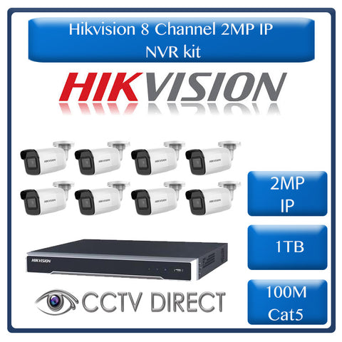 Hikvision 2MP IP camera kit - 8ch 4K NVR - 8 x 2MP IP cameras - 1TB HDD - 100M cable - 30M Night vision