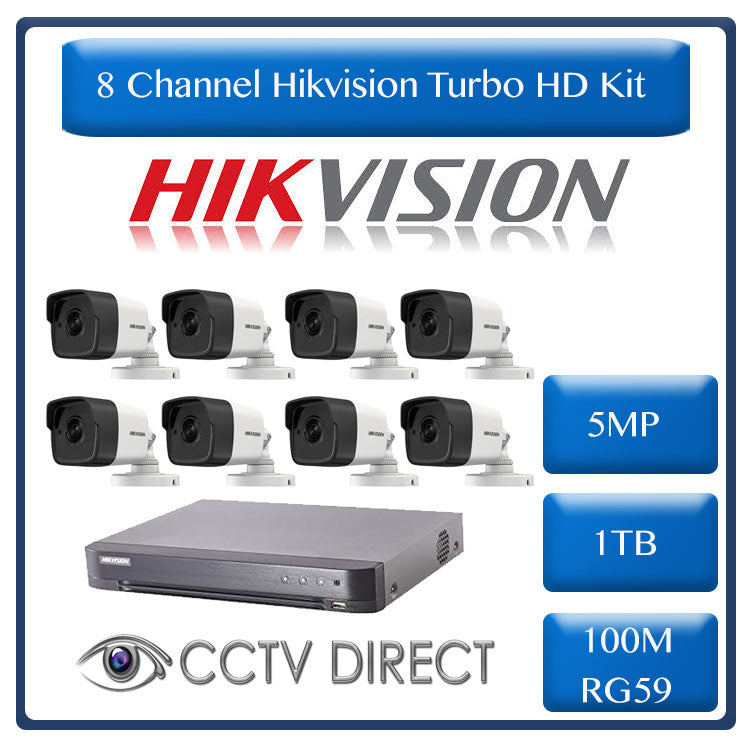Hikvision 8ch 5MP Turbo HD kit - HD DVR up to 8MP - 8 x HD 5MP cameras - 1TB HDD - 100m Cable - 20m Night vision