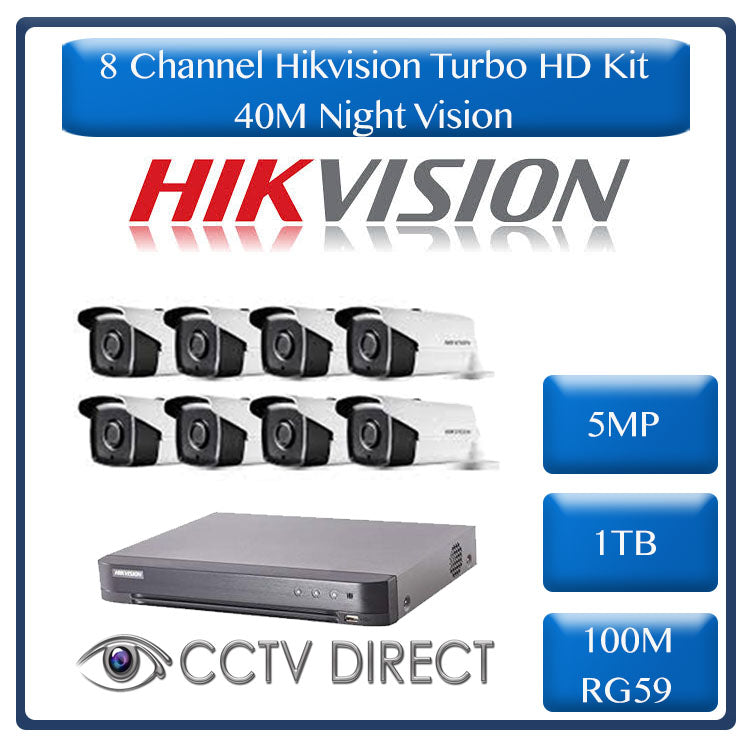 Hikvision 8ch 5MP Turbo HD kit - HD DVR up to 8MP - 8 x HD 5MP cameras - 1TB HDD - 100m Cable - 40m Night vision