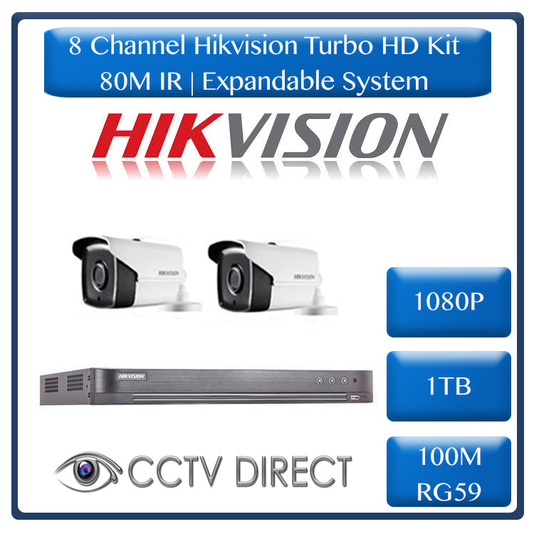 Hikvision 8ch Turbo HD DVR up to 4MP , 2 x Hikvision 1080p 80m IR cameras, 1TB HDD, 100m Cable