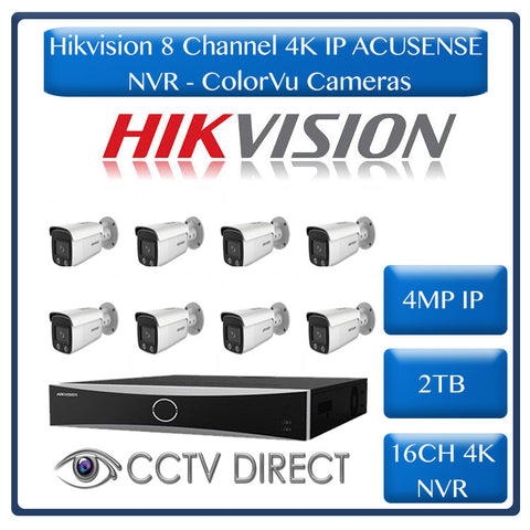 Hikvision ACUSENSE 4MP IP camera kit - 16ch 4K NVR - 8 x 4MP ColorVu IP cameras - 2TB HDD - 100M cable - Colour Night vision