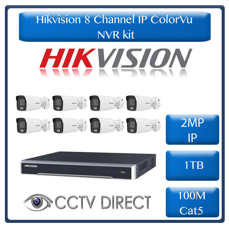 Hikvision 8ch IP ColorVu NVR kit - 8ch 4K NVR - 8 x 2MP IP ColorVu cameras - 1TB HDD -100m Cable - Colour Night Vision