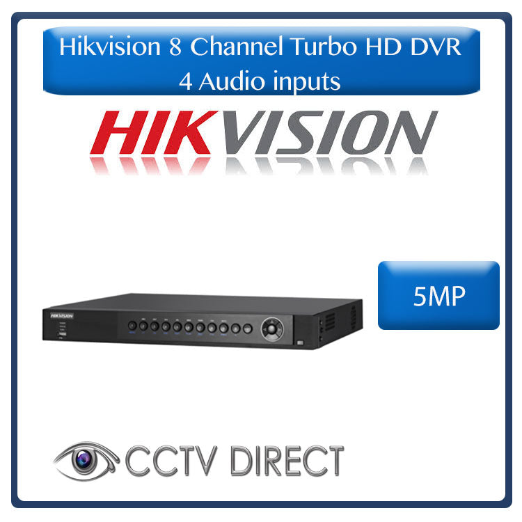 Hikvision 8ch Turbo  HD DVR up to 5MP, H.264 with 4 audio inputs