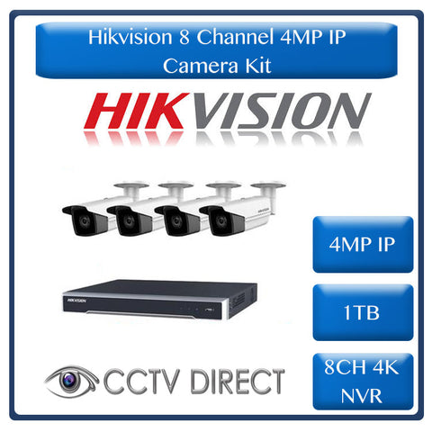Hikvision 4MP IP camera kit - 8ch 4K NVR - 4 x 4MP IP cameras - 1TB HDD - 100M cable - 80M Night vision