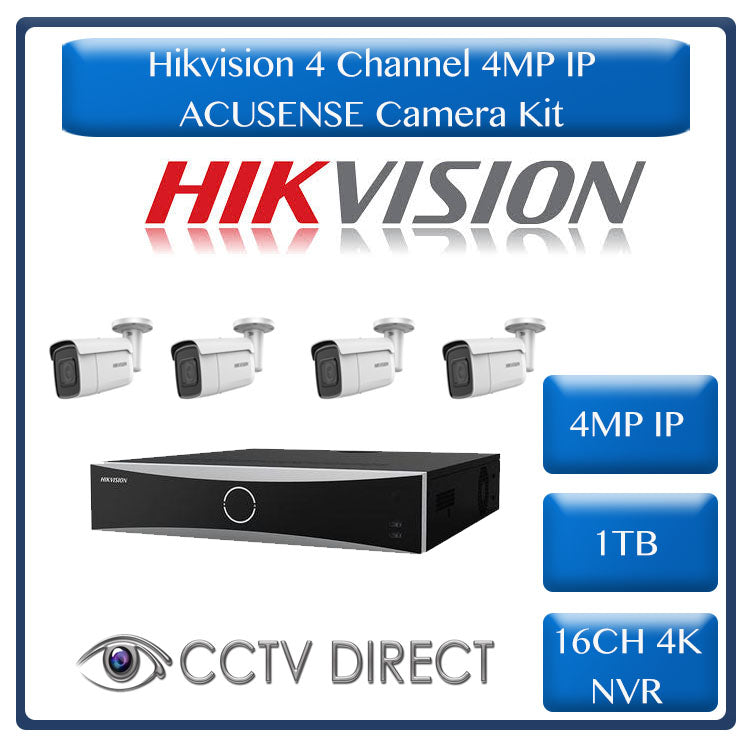 Hikvision ACUSENSE 4MP IP camera kit - 16ch 4K NVR - 4 x 4MP IP cameras - 1TB HDD - 100M cable - 80M Night vision