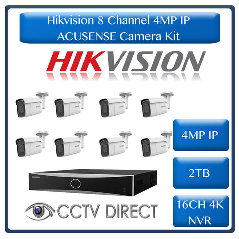 Hikvision ACUSENSE 4MP IP camera kit - 16ch 4K NVR - 8 x 4MP IP cameras - 2TB HDD - 100M cable - 80M Night vision