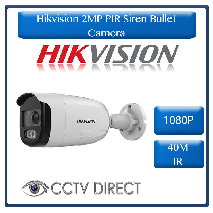 Hikvision 1080p 2MP PIR Siren Fixed Bullet Camera, 40m Night vision ( Ideal for AcuSense DVR's)