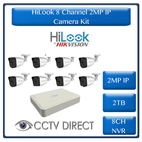HiLook by Hikvision 2MP IP camera kit - 8ch NVR with 8 POE - 8 x 2MP IP cameras 30m IR - 2TB HDD - 200m Cat5 cable