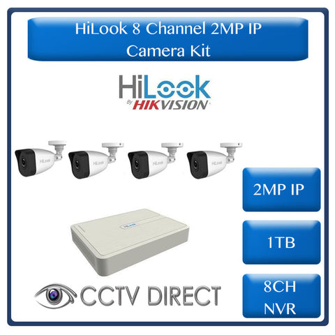 HiLook by Hikvision 2MP IP camera kit - 8ch NVR with 8 POE - 4 x 2MP IP cameras 30m IR - 1TB HDD - 100m Cat5 cable