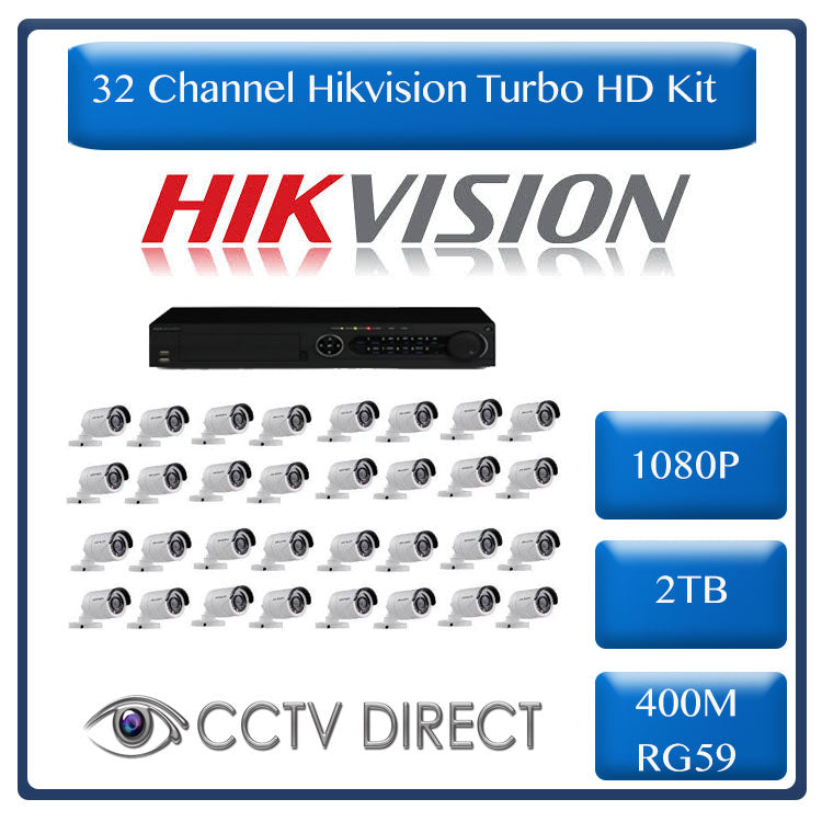 HikVision 32 Ch Turbo HD Kit - Embedded DVR - 32 x HD1080P Camera - 2TB HD  - 400m Cable