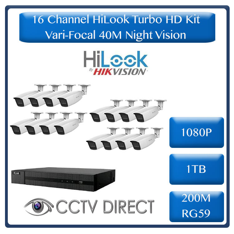 HiLook by HikVision 16 Ch Turbo HD Kit - Embedded DVR - 16 x Vari Focul HD1080P Camera - 40M Night vision - 1TB HD - 200m Cable