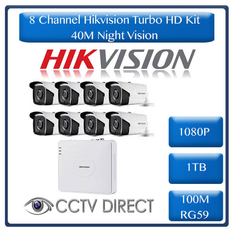 HikVision 8 Ch Turbo HD Kit - Embedded DVR - 8 x HD1080P Camera - 40M Night vision - 1TB HD - 100m Cable