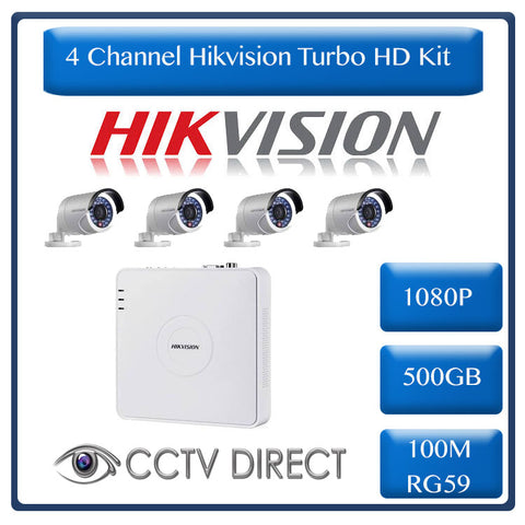 HikVision 4 Ch Turbo HD Kit - Embedded DVR - 4 x HD1080P Camera - 20M Night vision - 500GB HD - 100m Cable