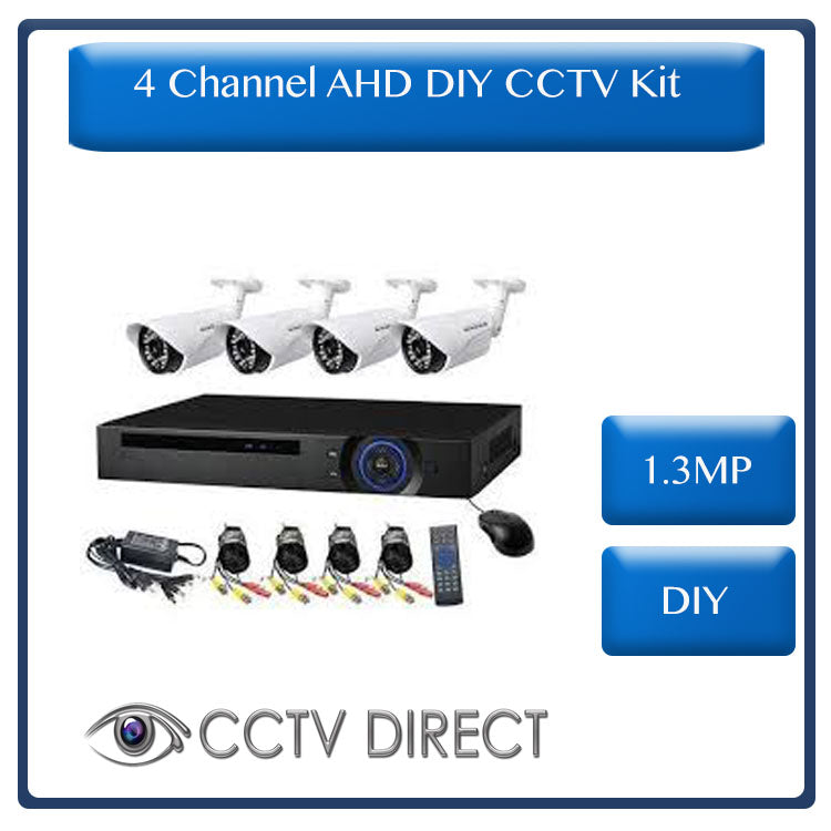 DIY 4 Channel AHD kit with 1.3MP digital camera's, 720P recording and internet remote viewing