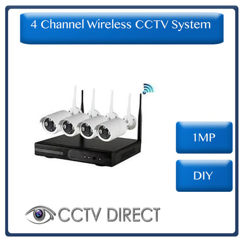 Wireless 4 Channel NVR Kit, 1.0MP - DIY
