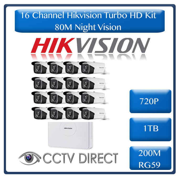 HikVision 16 Ch Turbo HD Kit - Embedded DVR - 16 x HD720P Camera - 80M Night vision - 1TB HD - 200m Cable