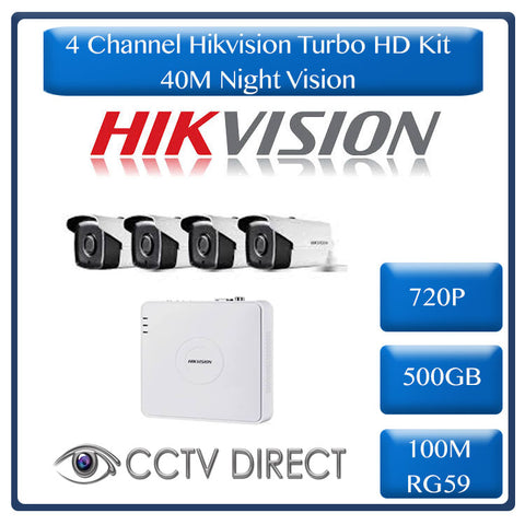 HikVision 4 Ch Turbo HD Kit - Embedded DVR - 4 x HD720P Camera - 40M Night vision - 500GB HD - 100m Cable