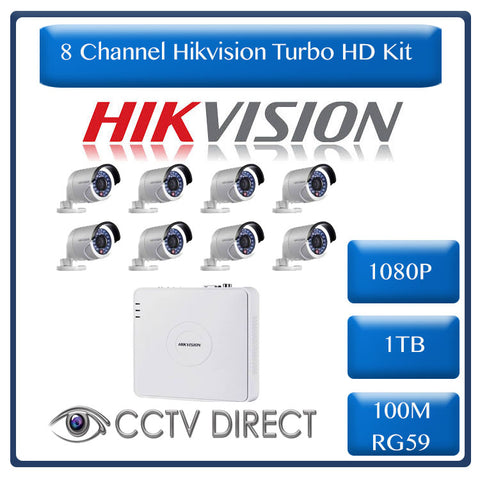 HikVision 8 Ch Turbo HD Kit - Embedded DVR - 8 x HD1080P Camera - 20M Night vision - 1TB HD - 100m Cable