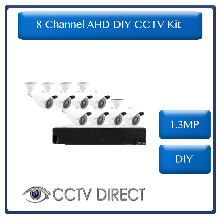 DIY 8 Channel AHD kit with 1.3MP digital camera's, 720P recording and internet remote viewing