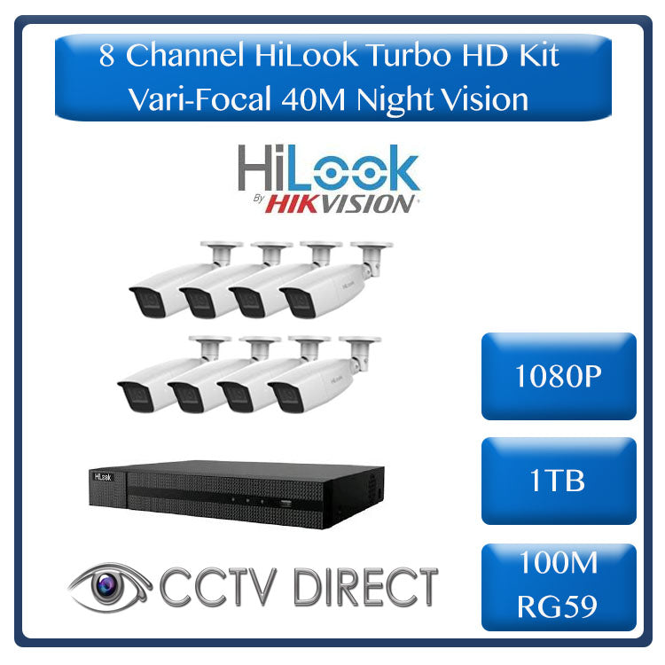 HiLook by HikVision 8 Ch Turbo HD Kit - Embedded DVR - 8 x Vari Focul HD1080P Camera - 40M Night vision - 1TB HD - 100m Cable