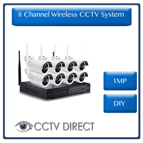 Wireless 8 Channel NVR Kit, 1.0MP - DIY