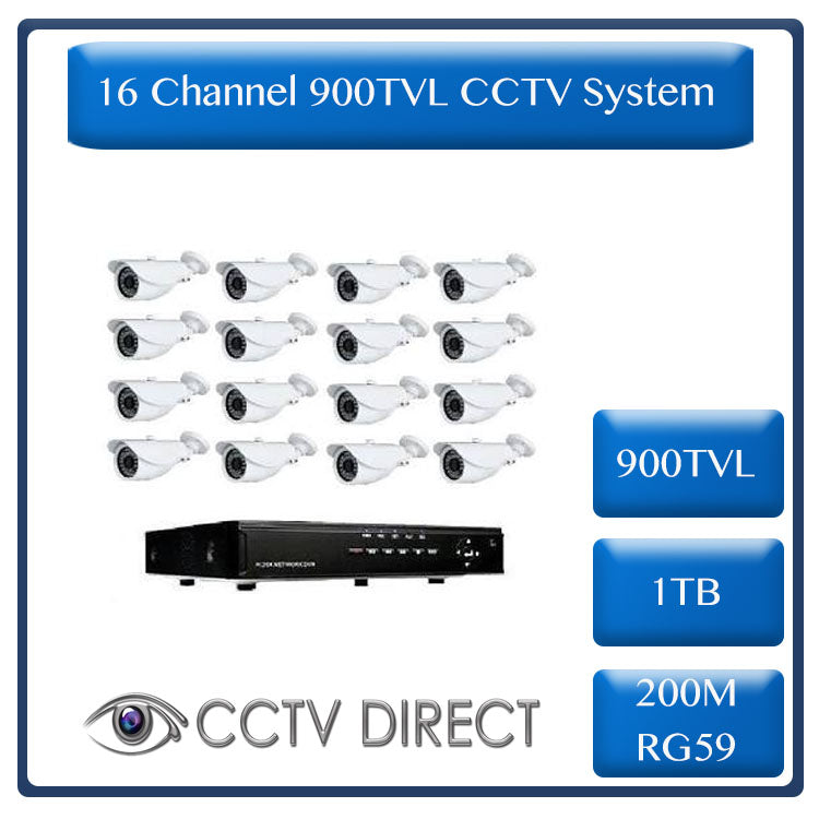 Complete 16 Channel CCTV system with 800 tvl camera's, power supply box and 1TB HDD