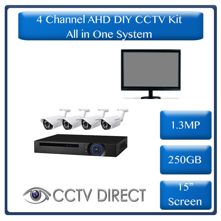 "*All in one system* DIY 4 Channel AHD kit with 1.3MP, 15"" LCD screen & 250GB Hard drive"