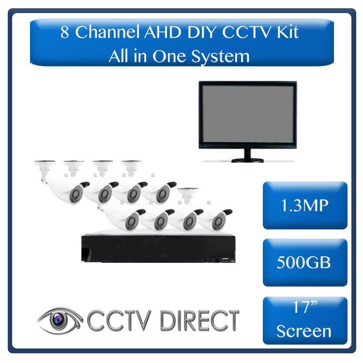 "*All in one system* DIY 8 Channel AHD kit with 1.3MP, 17"" LCD screen & 500GB Hard drive"
