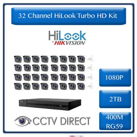 HiLook by HikVision 32 Ch Turbo HD Kit - Embedded DVR - 32 x HD1080P Camera - 20m IR - 2TB HD - 400m Cable