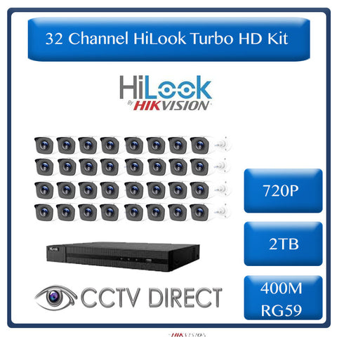 HiLook by HikVision 32 Ch Turbo HD Kit - Embedded DVR - 32 x HD720P Camera - 20m IR - 2TB HD - 400m Cable