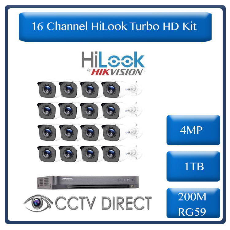 HiLook by Hikvision 16ch Turbo HD kit - 4MP HD 16ch DVR - 16 x HD 4MP Cameras - 20M Night vision - 1TB HD - 200m Cable