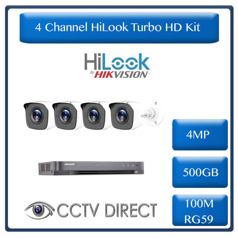HiLook by Hikvision 4ch Turbo HD kit - 4MP HD 8ch DVR - 4 x HD 4MP Cameras - 20M Night vision - 500GB HD - 100m Cable
