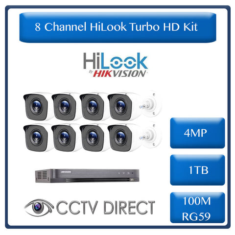 HiLook by Hikvision 8ch Turbo HD kit - 4MP HD 8ch DVR - 8 x HD 4MP Cameras - 20M Night vision - 1TB HD - 100m Cable