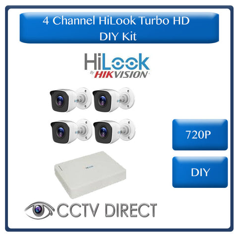 HiLook 4 Ch Turbo HD Kit - HD DVR - 4 x HD720P Cameras - 20m Night Vision - 4 x 18M Cables - Remote access - Plug and play. Self Install