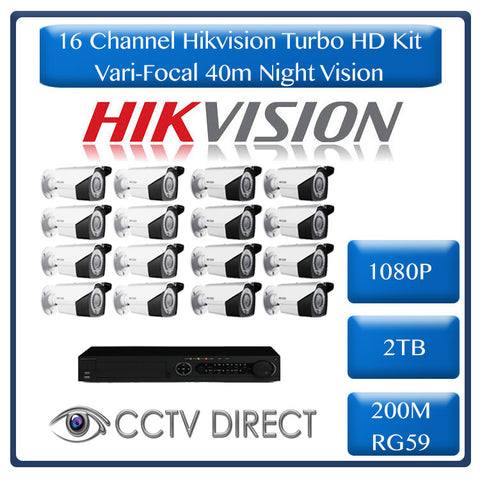 HikVision 16Ch Turbo HD Kit - Embedded DVR - 16 x Vari Focul HD1080P Camera - 40M Night vision - 2TB HD - 200m Cable