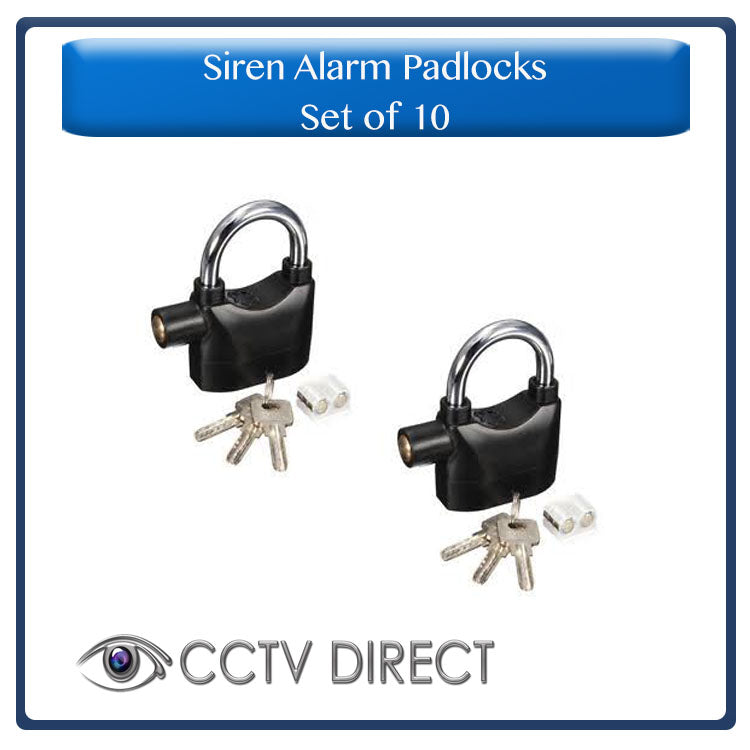 Set of 10 Siren Alarm Padlocks, 110db siren when tampered with ( R120 each)