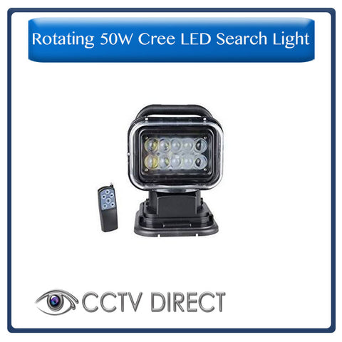 Rotating 50W Cree Led Search Light Remote Control Spot Work Light For Hummer Jeep And Other Off-road Vehicles or Trucks Boat