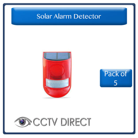 ** Pack of 5*** Solar Alarm Flashing 6 LED Light Motion Sensor Detector Security 129dB Siren (R250each)