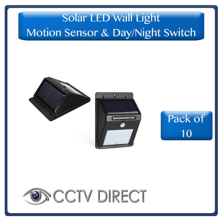 **Pack of 10** Solar Powered LED wall light with motion sensor and Day/Night switch ( R99  each)