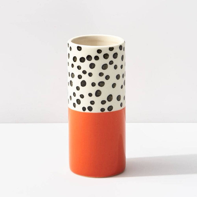 Orange Polka Dot Small Vase
